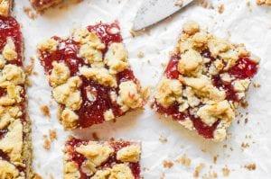 Strawberry jam crumble bars, overhead.