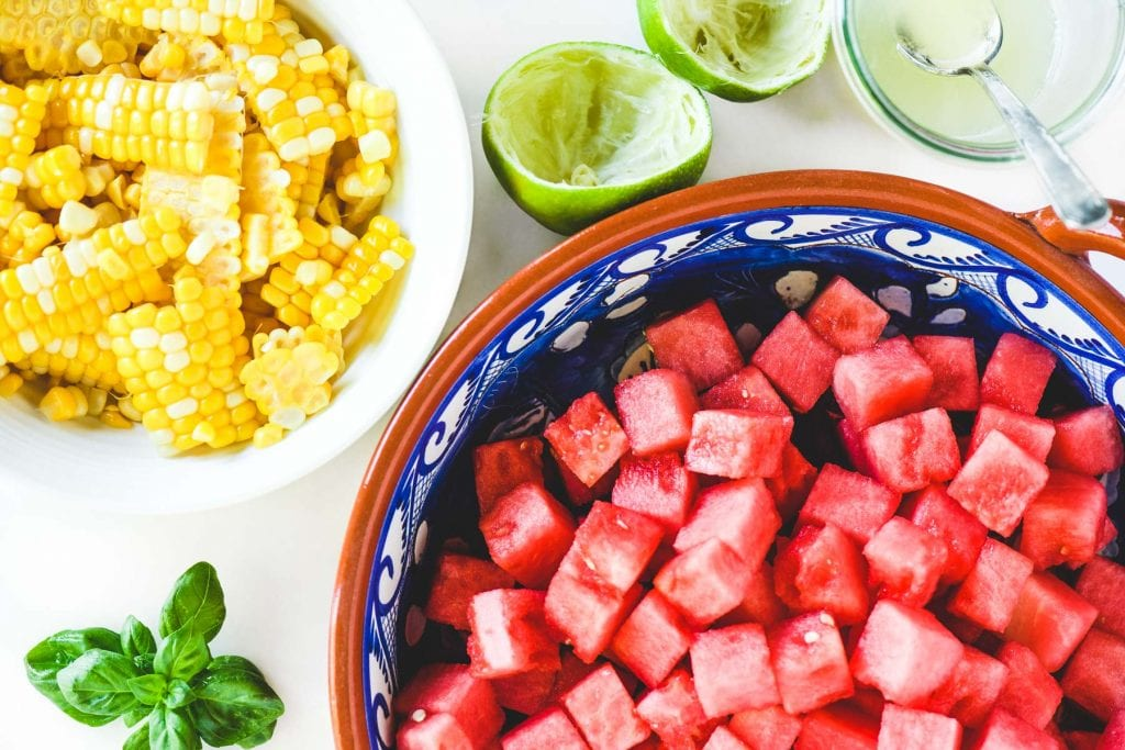 ingredients for watermelon salad