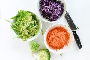 prepped salad ingredients