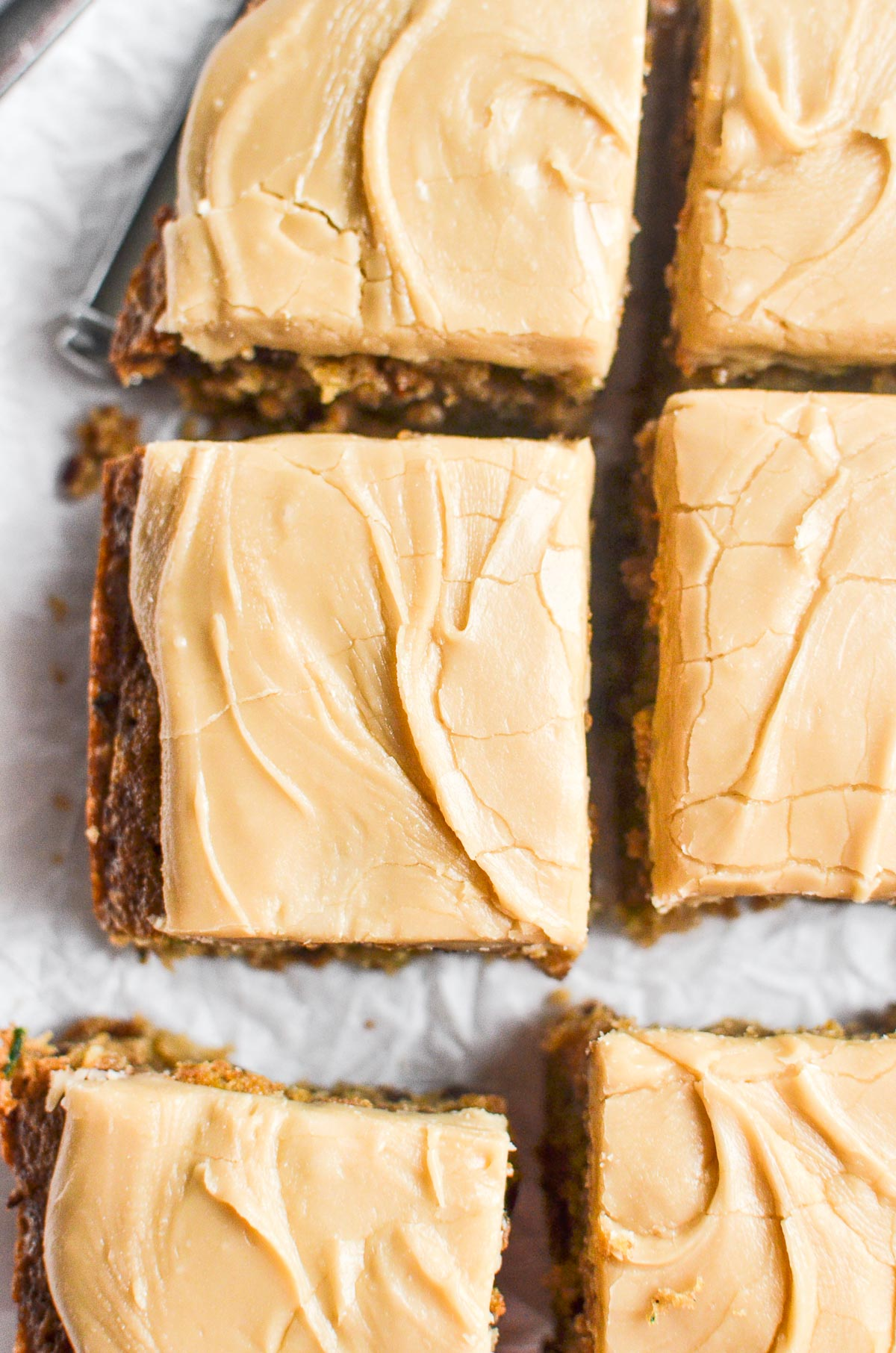 zucchini blondies, frosted