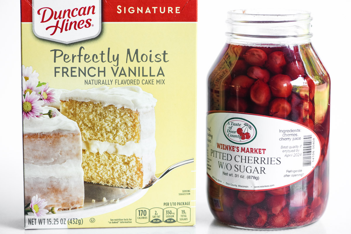 cake mix and canned cherries