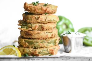 a stack of fried green tomatoes