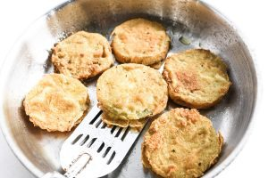 fried green tomatoes in a skillet