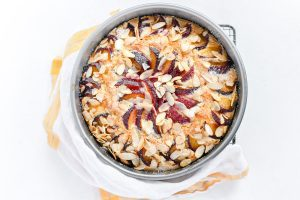 Ricotta plum cake out of the oven