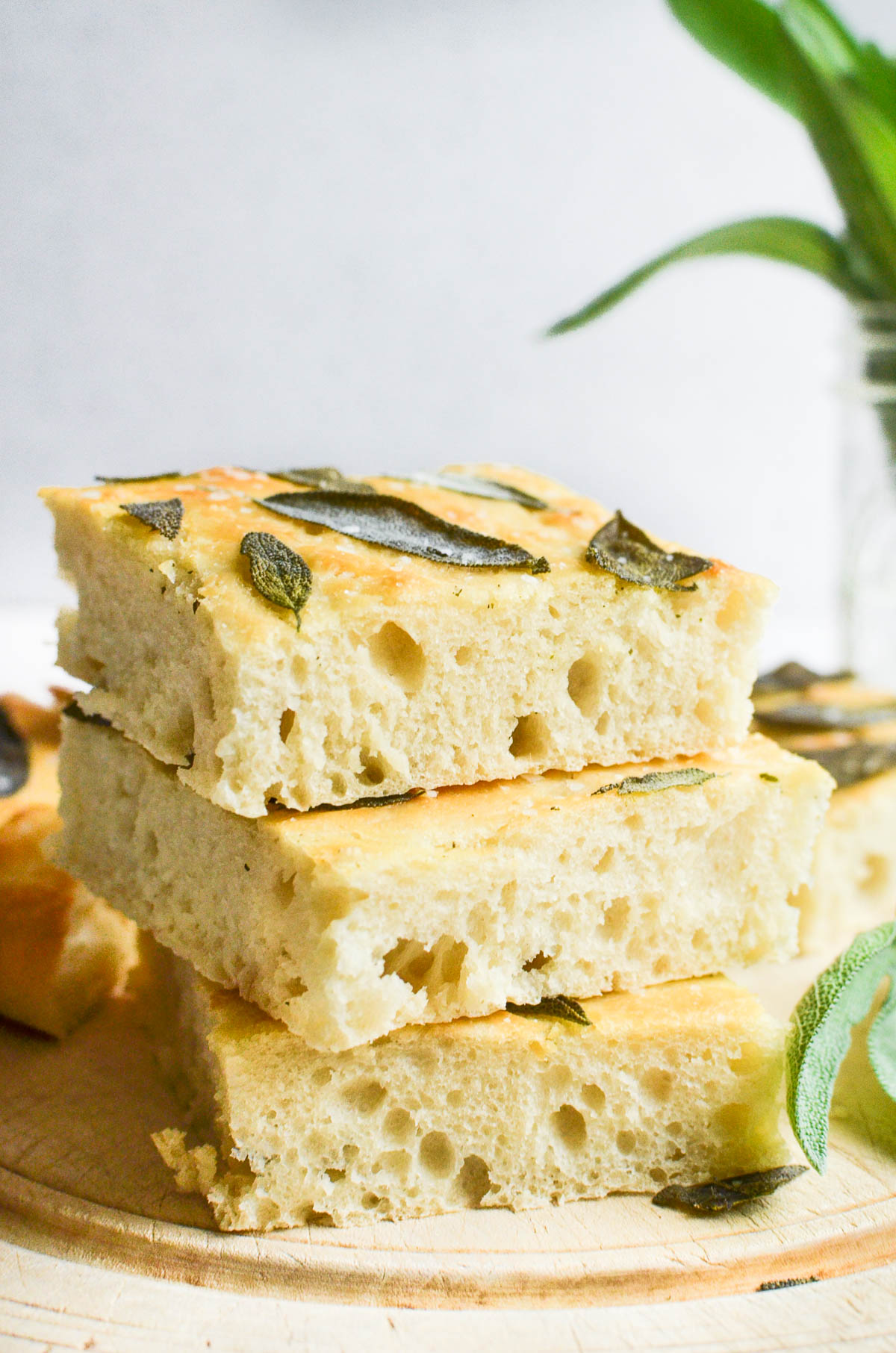 slices of sage focaccia bread, stacked