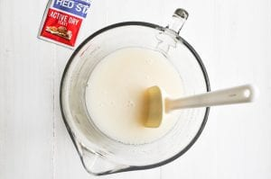 mixing yeast into focaccia batter