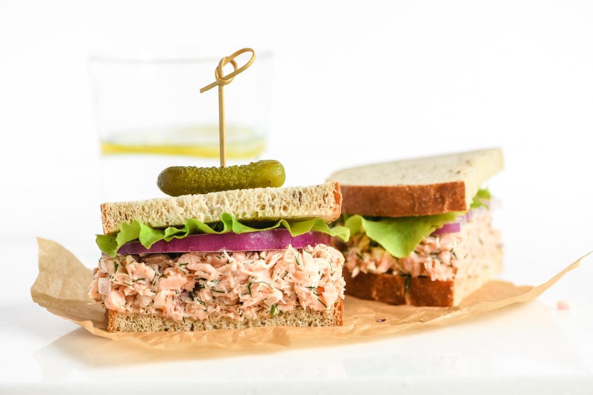 smoked salmon salad sandwich