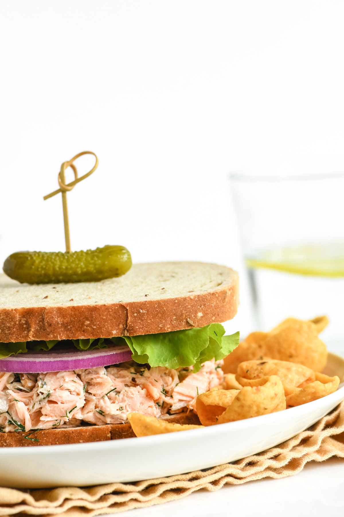 smoked salmon salad sandwich with pickle