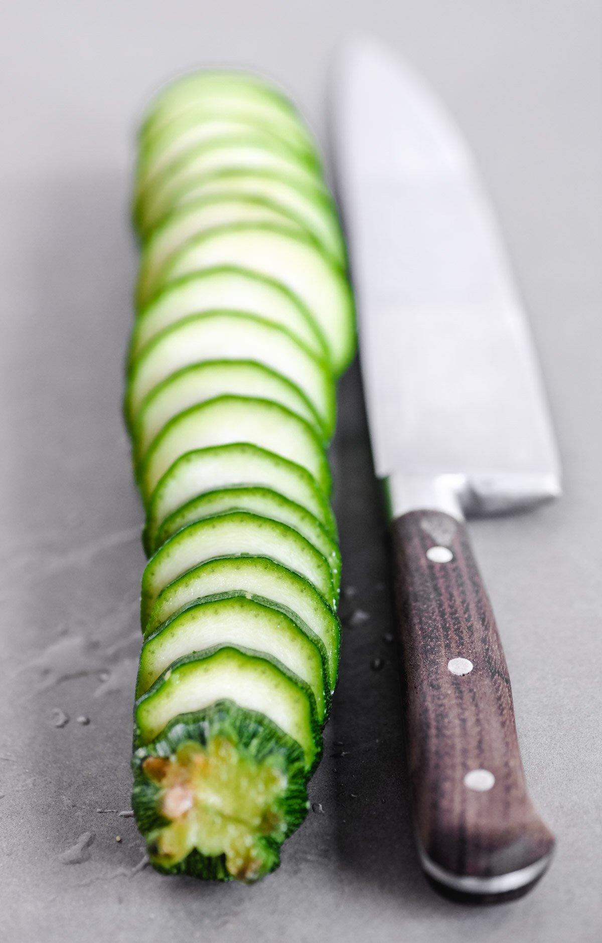 slicing a zucchini