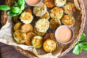 zucchini Parmesan Crisps with fry sauce in a basket