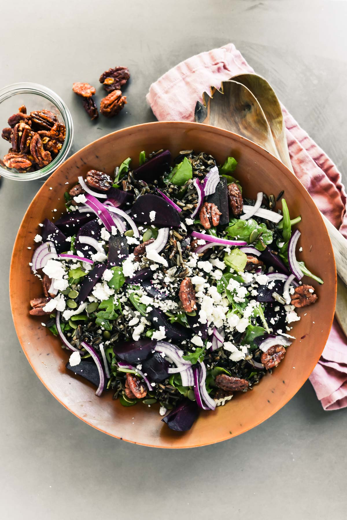 beet and wild rice salad with candied pecans