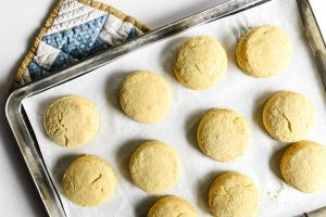masa harina biscuits on a baking sheet