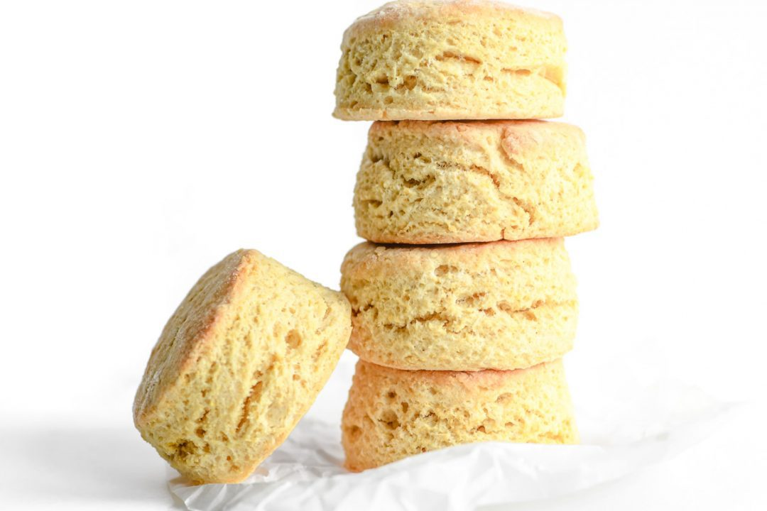 a stack of masa harina biscuits