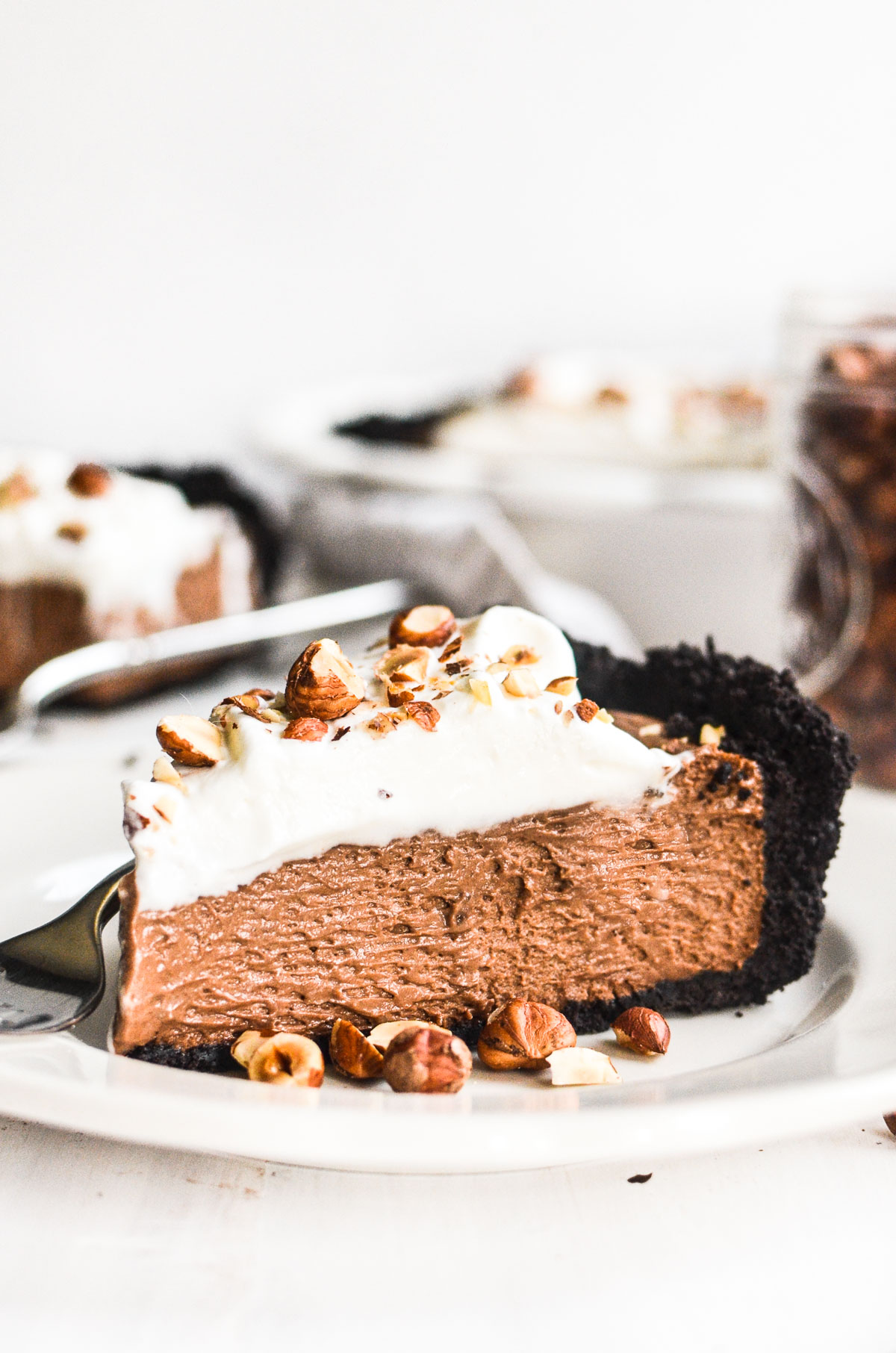 A slice of Nutella Mousse Pie