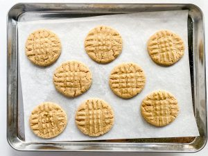 peanut butter cookies, baked on a tray