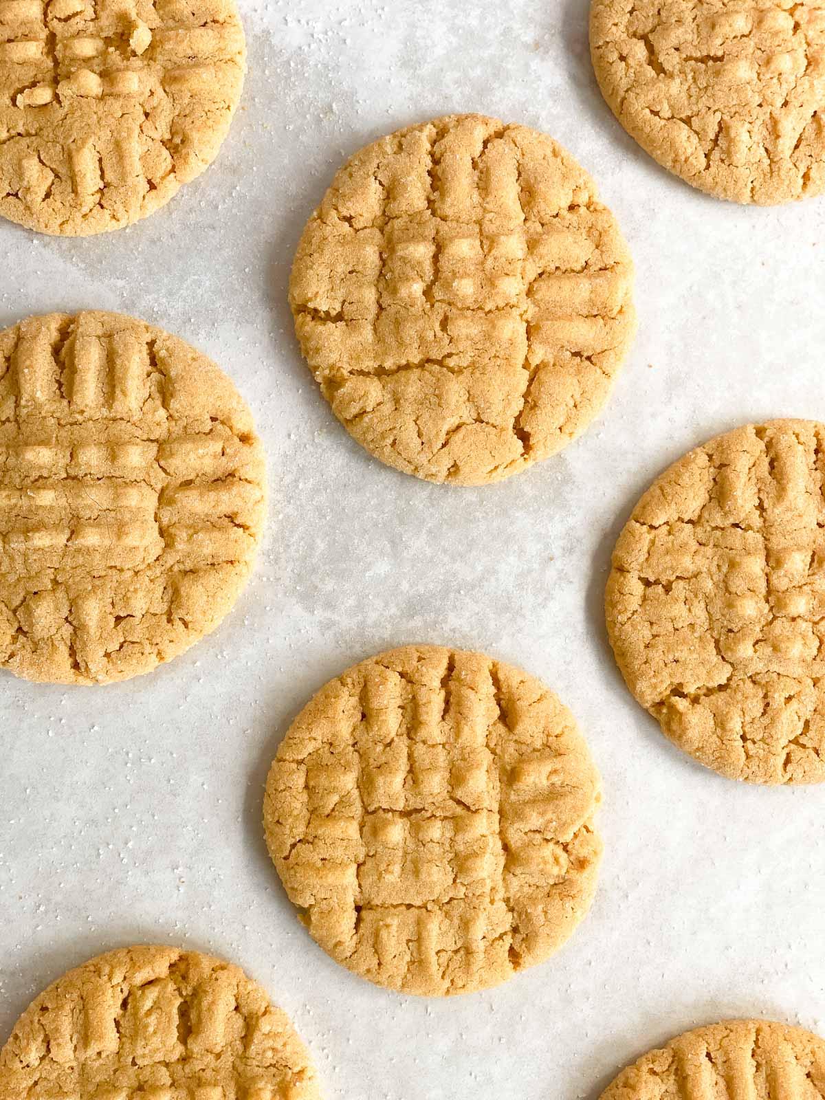 peanut butter cookies on parchment paper