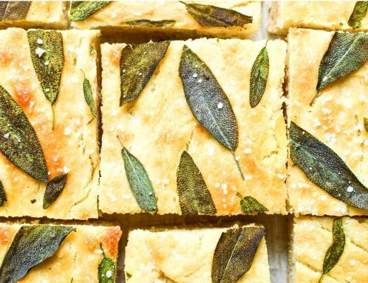 sage focaccia bread topped with sage leaves