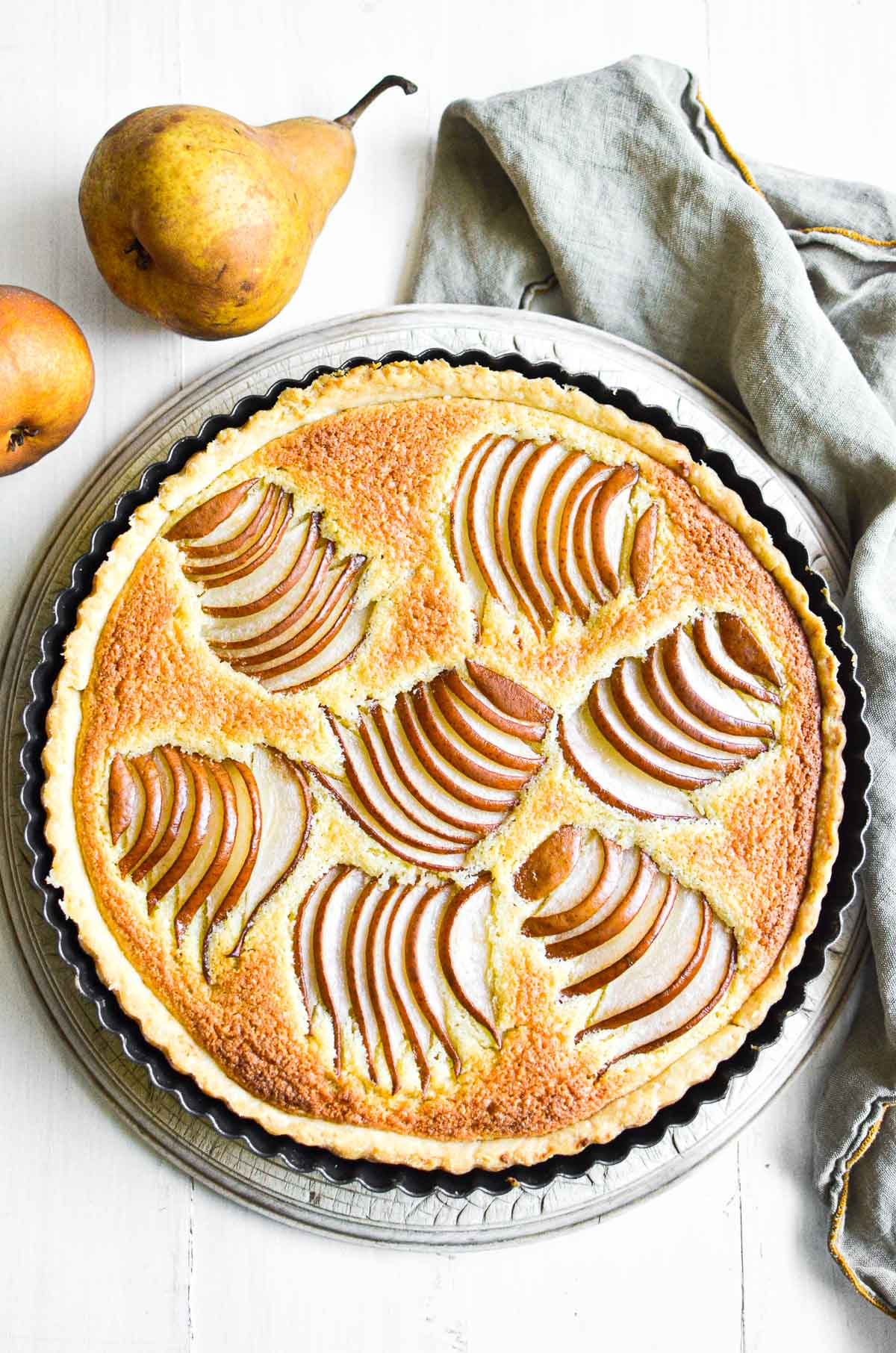 Pear and almond tart after being baked.