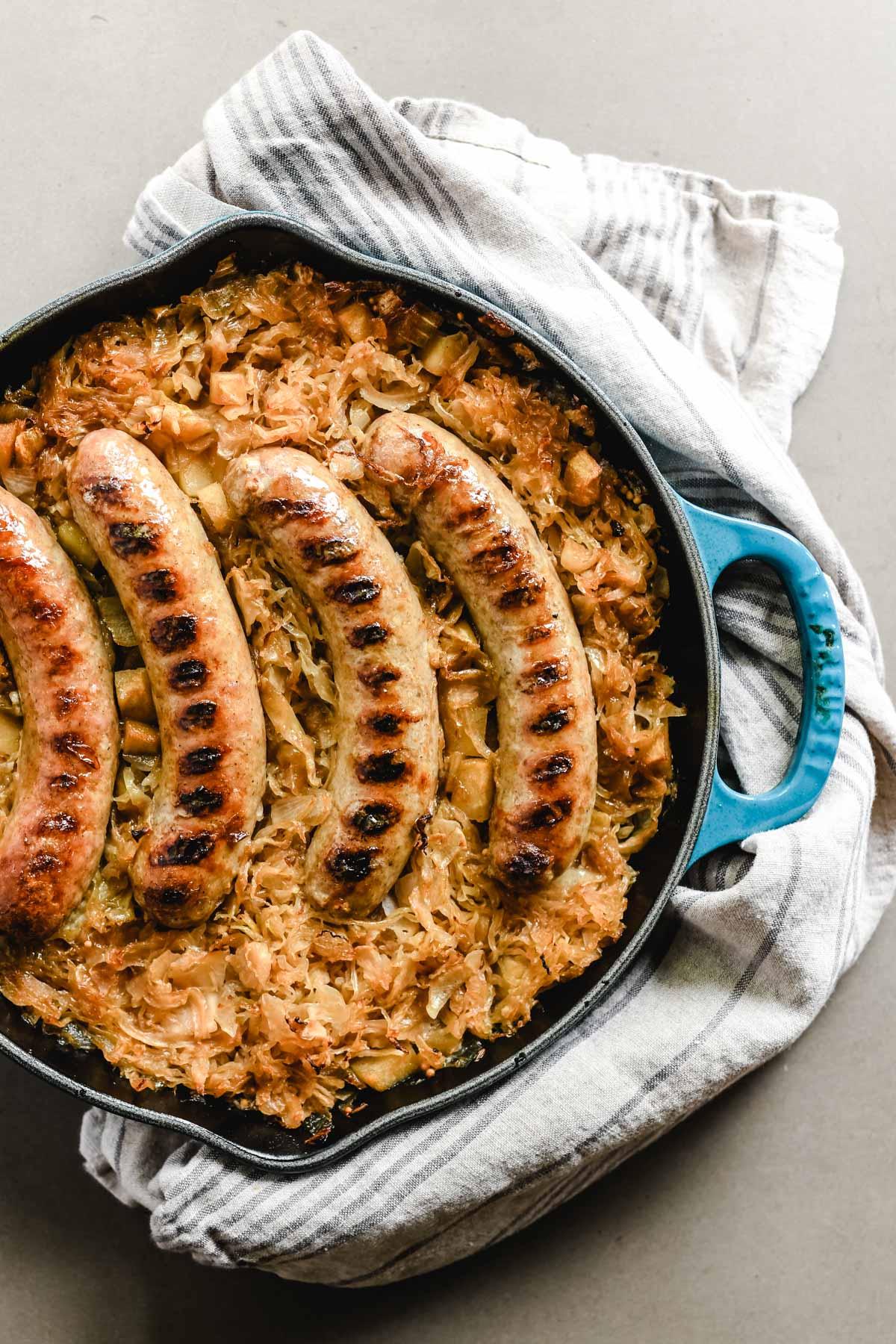 grilled brats in sauerkraut