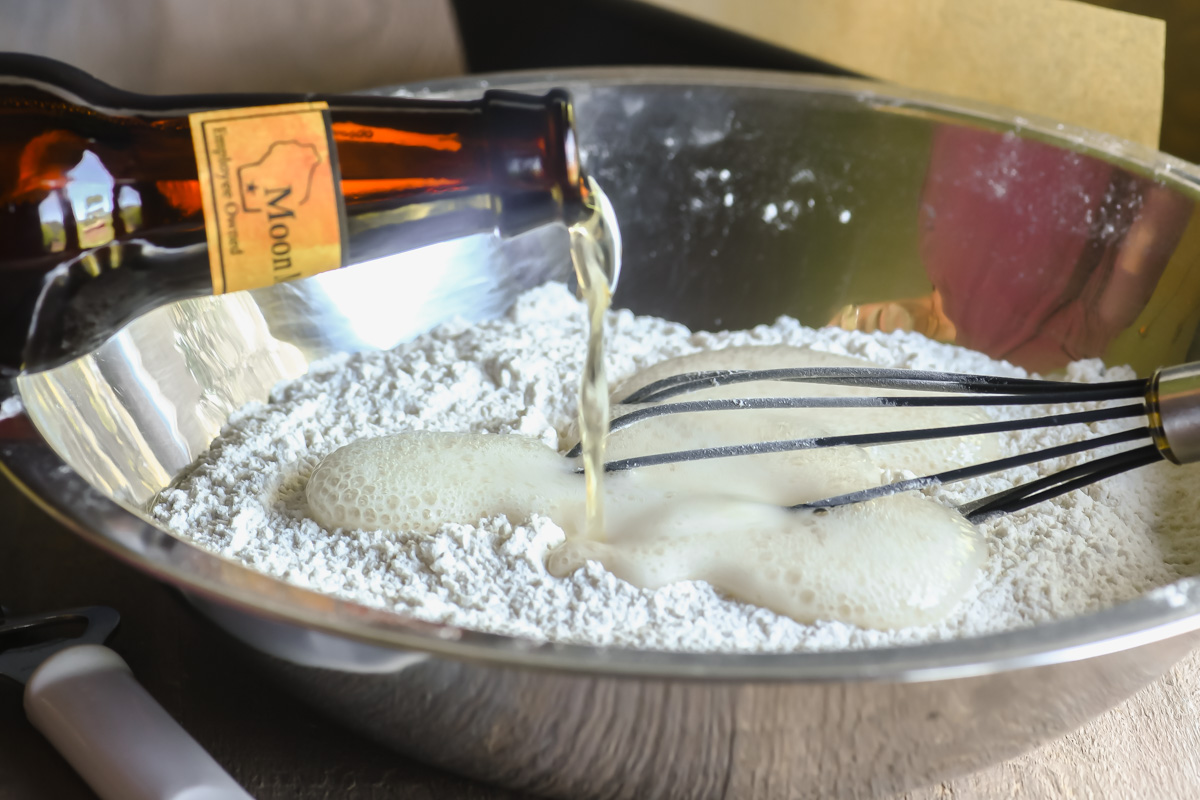 adding beer to beer bread