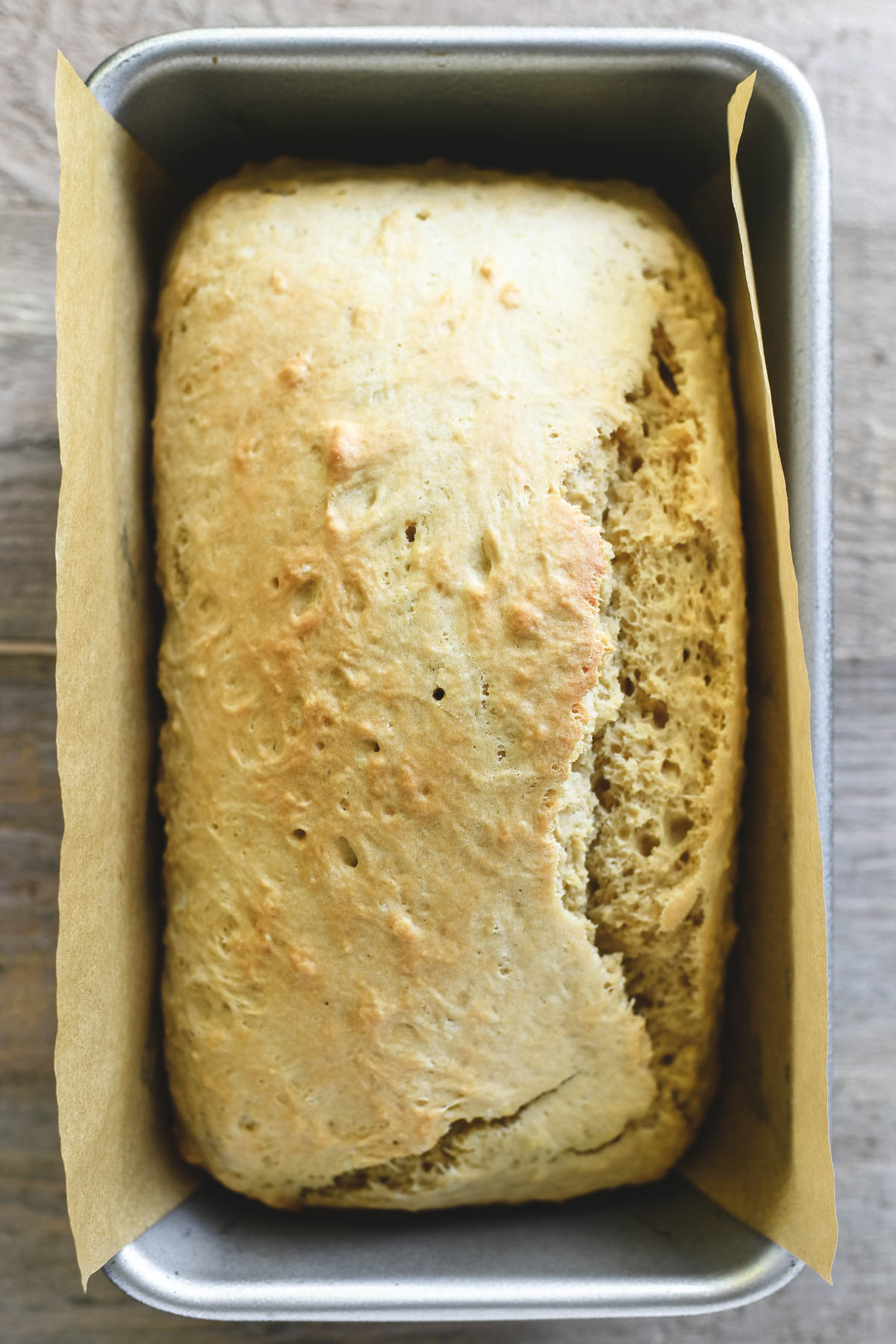 baked beer bread in pan