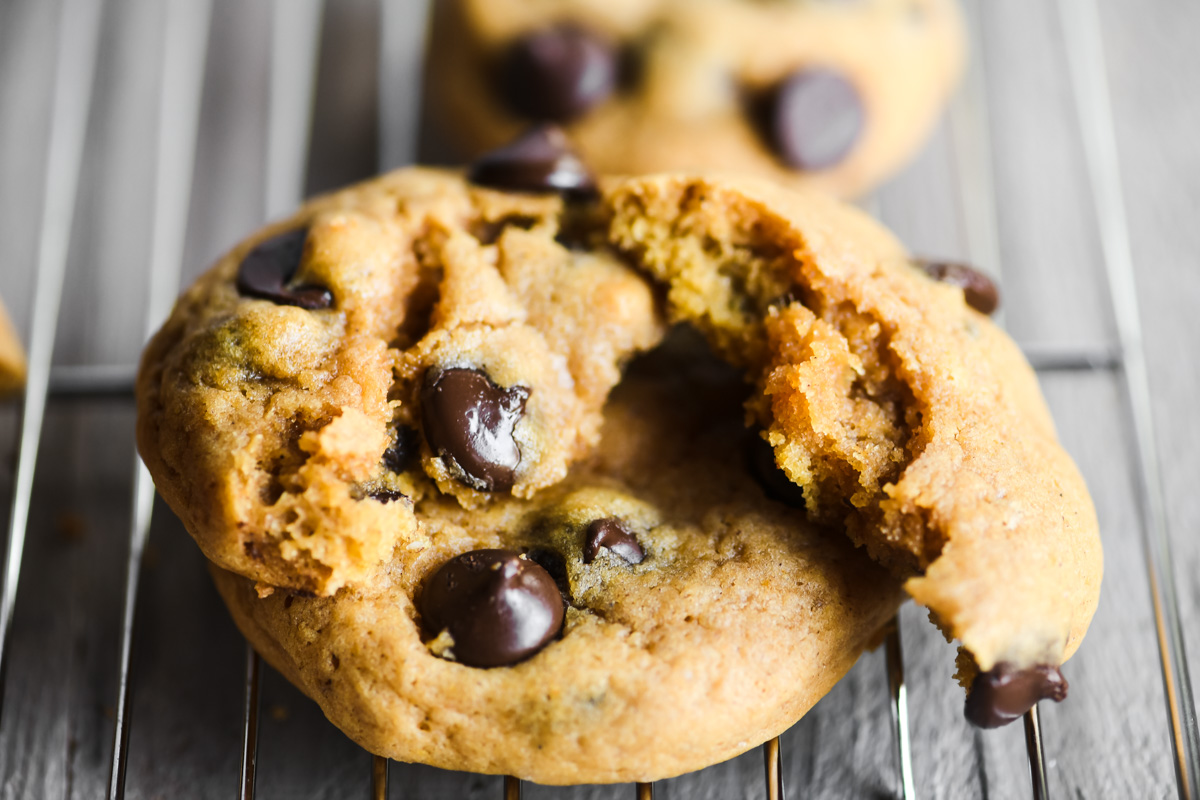 chocolate chip pumpkin cookies, stacked