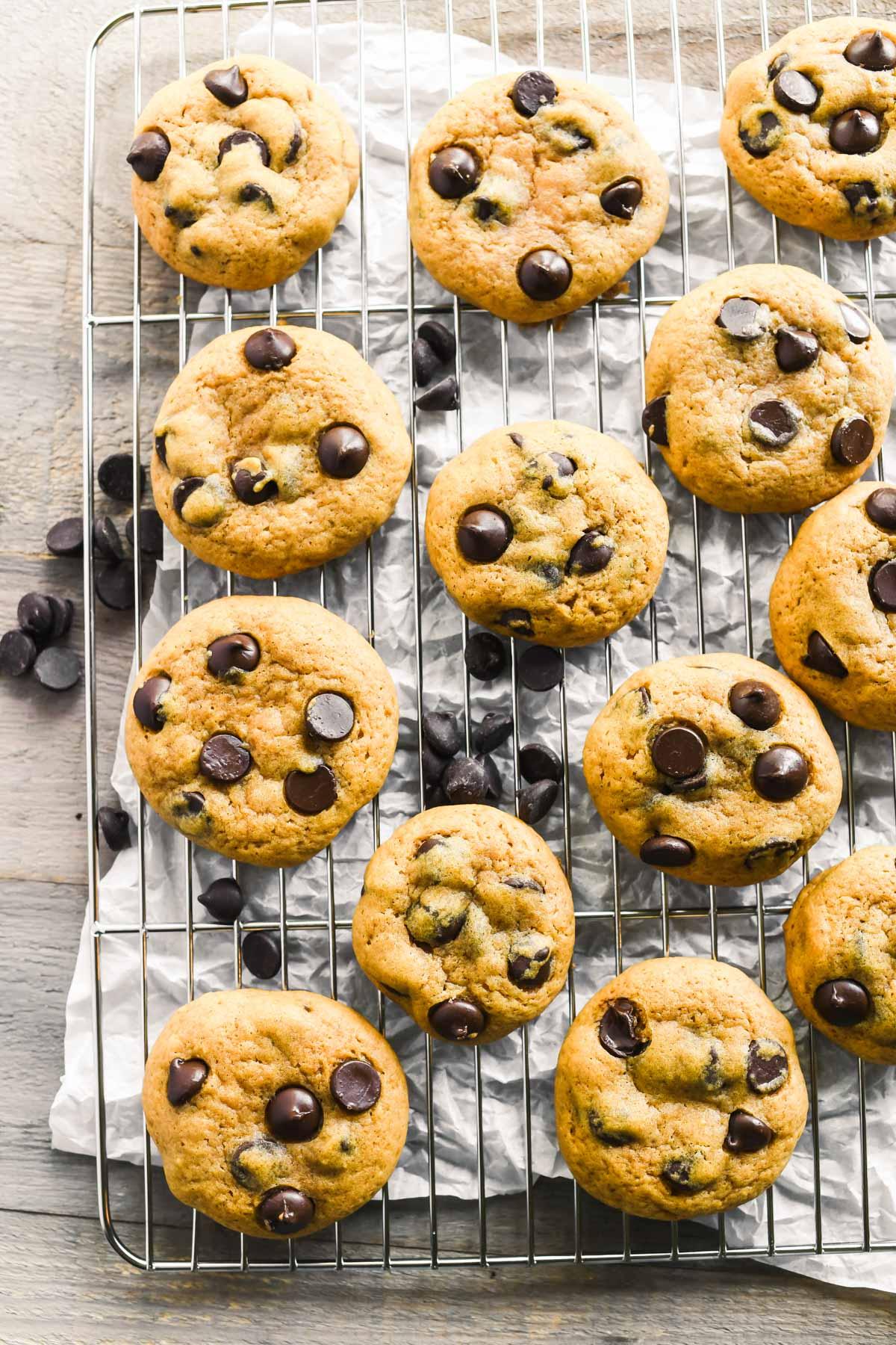 pumpkin chocolate chip cookies on a rack