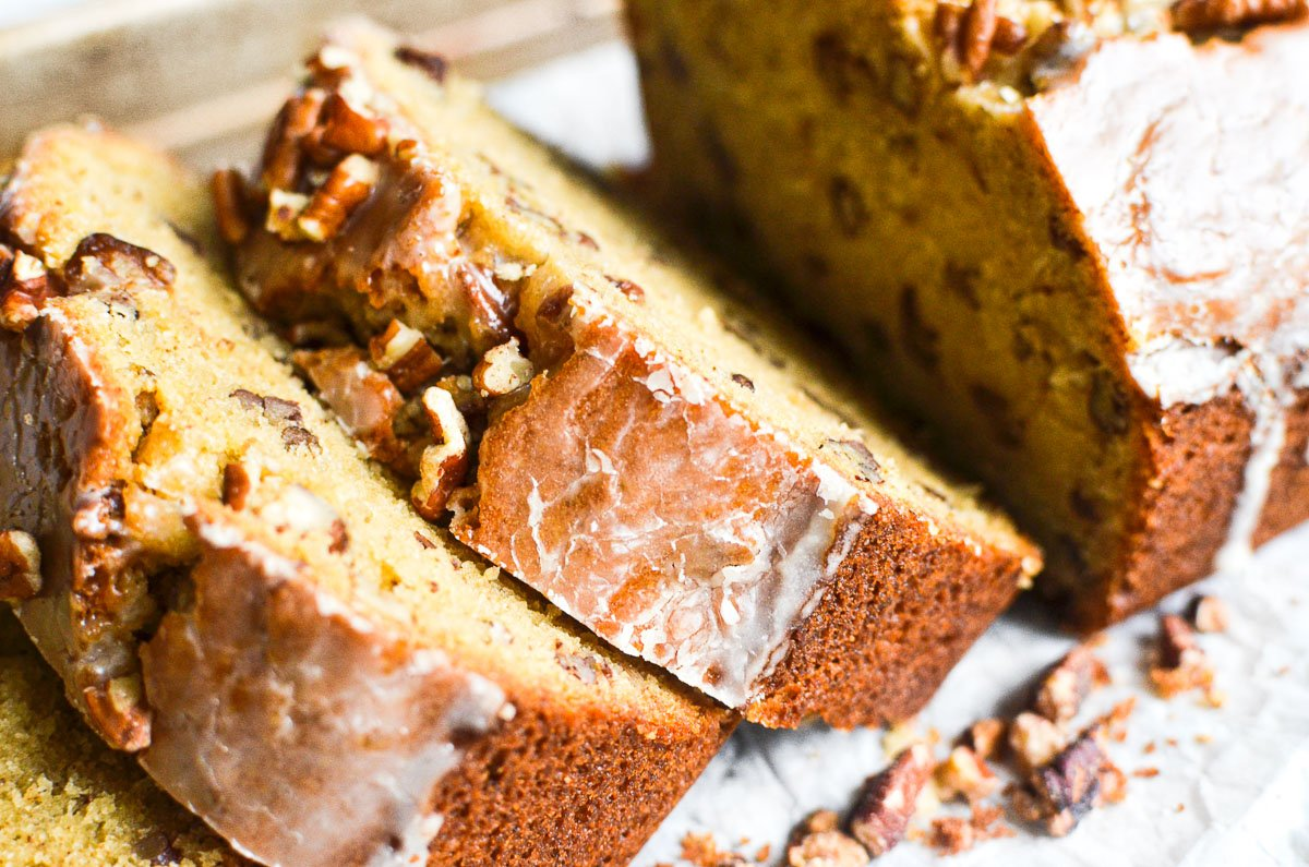 a loaf of maple pecan pound cake, sliced