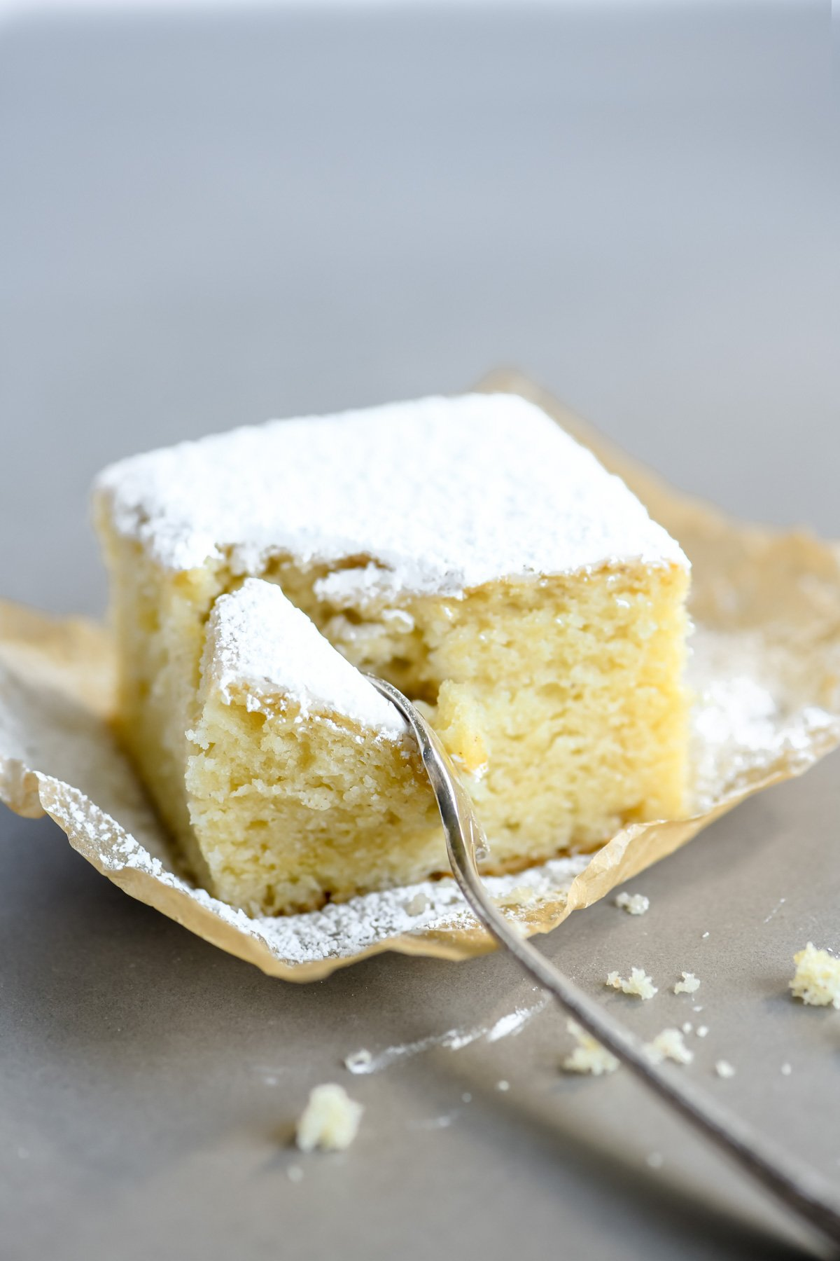 a piece of powdered sugar doughnut cake on parchment paper