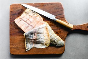 removing skin from trout