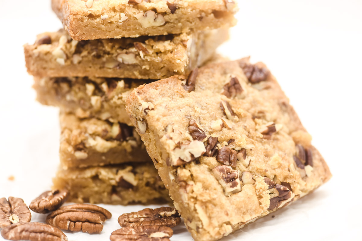stack of toffee pecan bars