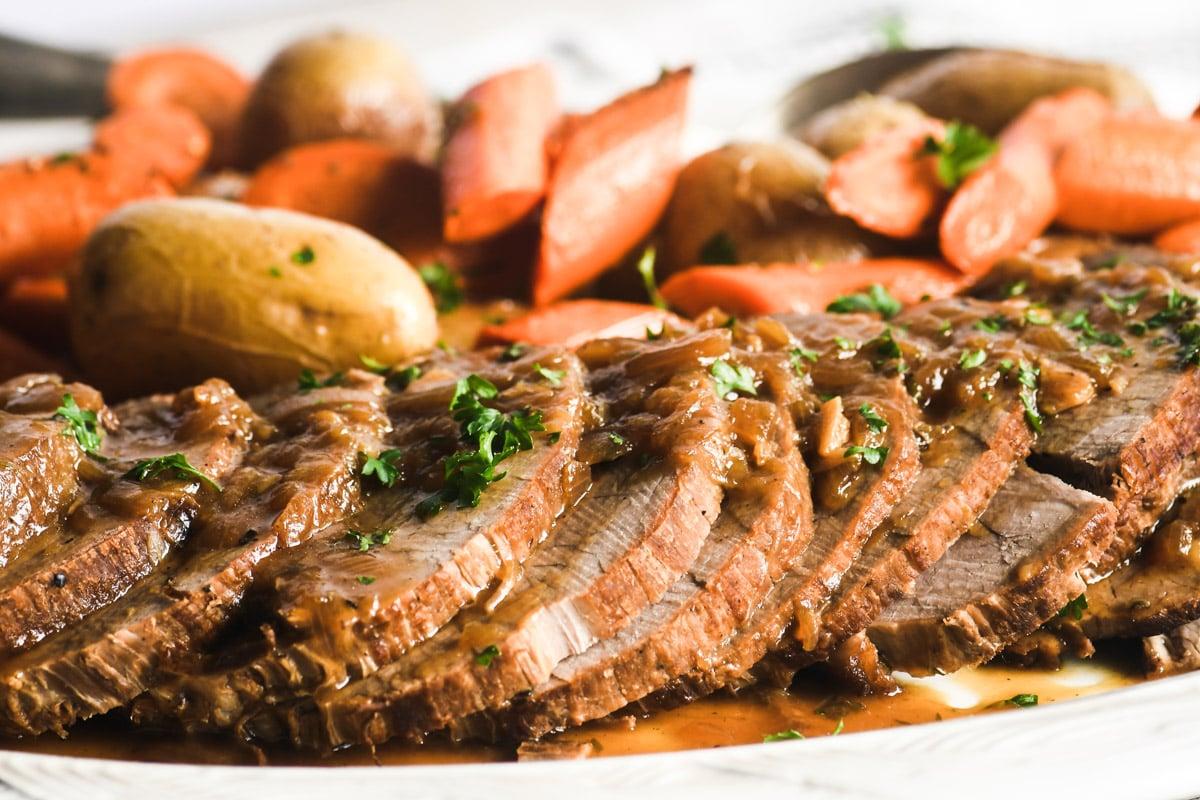 sliced pot roast with gravy