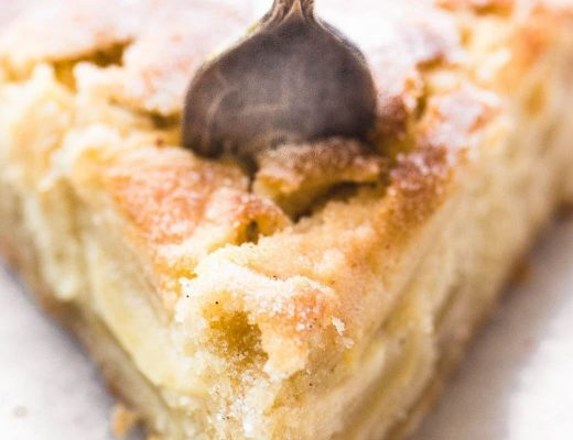 Dutch Apple Cake with fork
