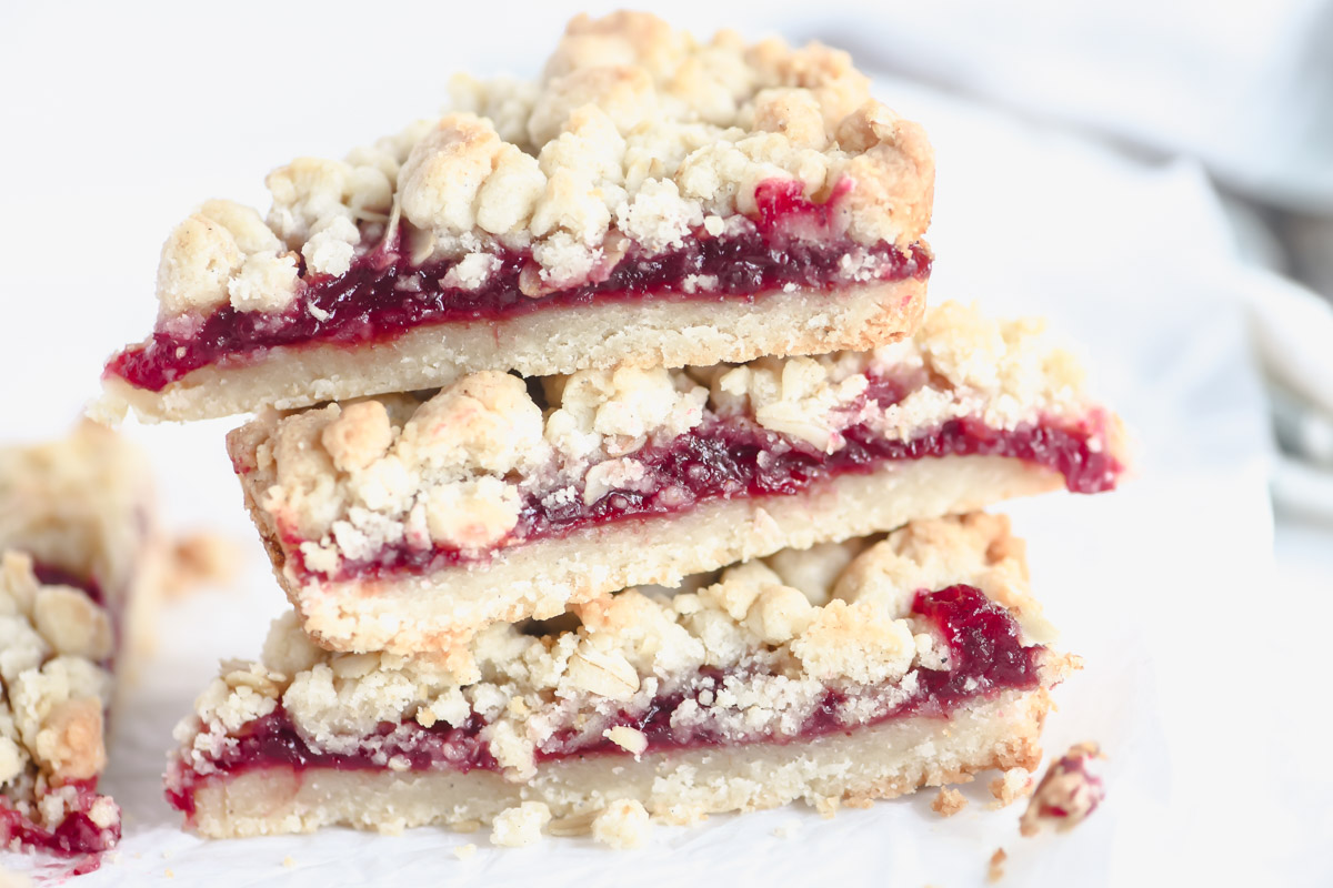 slices of lingonberry tart, stacked