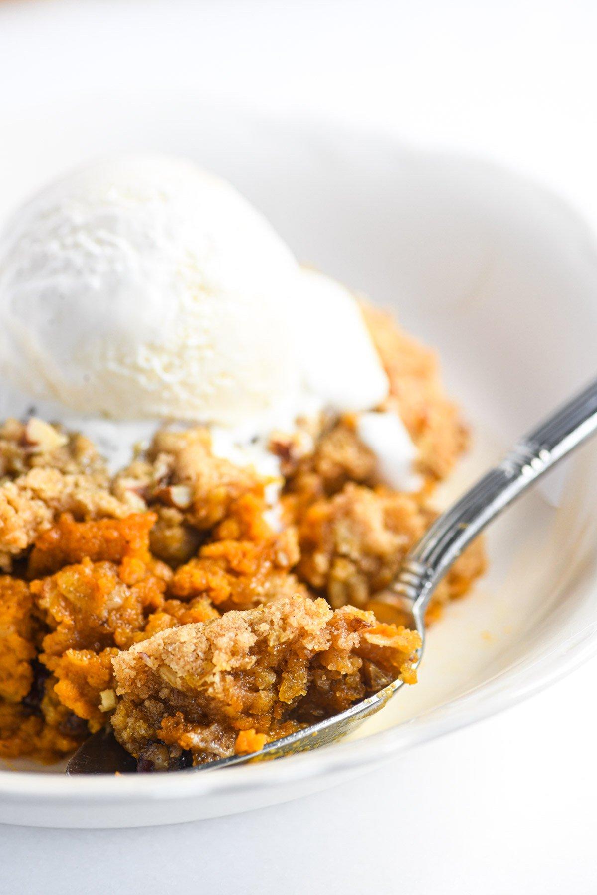 pumpkin crisp topped with ice cream