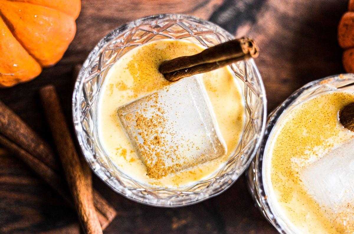 pumpkin spice liqueur in cocktail glasses